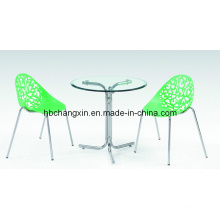 Glass Dining Table with Plastic Chair