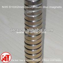 rare earth neodymium magnet cylinder N35 D10X2mm