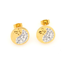 Cheap wholesale gold round stud earrings,dubai gold stud earrings jewelry