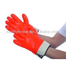 Schaumisolierte, vollbeschichtete, halb-raue Orangen-PVC-Arbeitshandschuhe