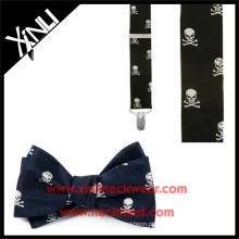 Crânio de jacquard de seda masculina e Crossbones laço e conjunto suspensor