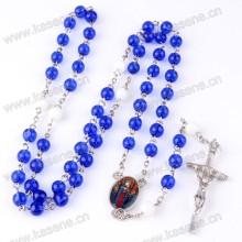 Быстрое распродажа Синие Кристаллы Розария Бусины Католическое Распятие Креста Ожерелье
