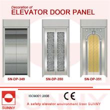 Painel de porta de aço inoxidável dourado côncavo para decoração de cabine de elevador (SN-DP-349)