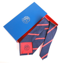 Red Navy Stripe Mens Silk Jacquard Custom Embroidered Tie With Logo on Tipping