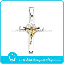 DIY Casting Two Tone Crucifix Religious Popular Stainless Steel Father Jesus Cross Prayers Pendant for Rosary Necklace