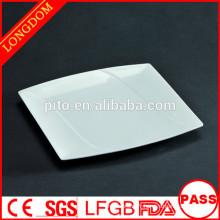 Assiette de porcelaine en porcelaine à carré blanc de haute qualité