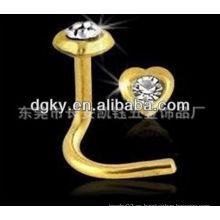 24K oro Europa estilo quirúrgico de acero inoxidable nariz anillos piercing cuerpo