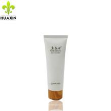 Embalagem de tubo plástico creme facial 120ml com tampa de madeira