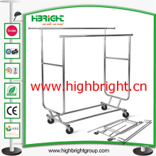 Double Sided Adjustable Collapsible Chromed Garment Rack