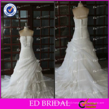 ED Real Sample Sleeveless Strapless Bow Waist Lace Appliques Pleating Chapel Train Wedding Dresses
