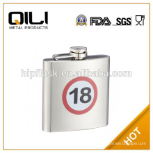 6oz portable stainless steel custom shape hip flask