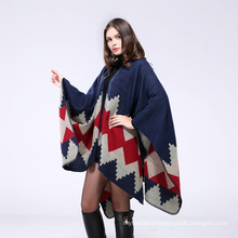 Winter warm oversized cape 50%acrylic 50% polyester jacquard weave poncho cape shawl