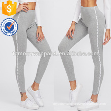 Grey Lace Contrast Side Leggings OEM/ODM Manufacture Wholesale Fashion Women Apparel (TA7015L)