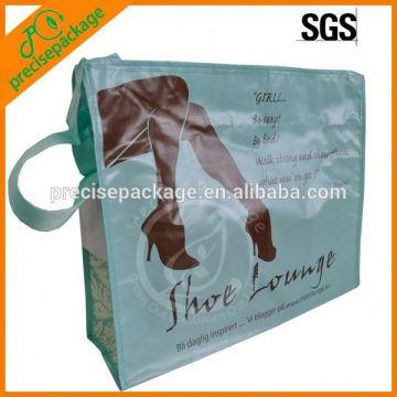 Bolsa não tecida laminada com zíper com alça ajustável
