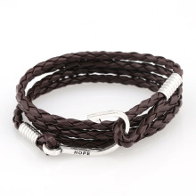 Mens leather wrap fish 후크 팔찌