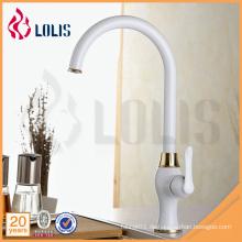 China Sanitärware Lieferant einzigen Griff weißen langen Hals Küchenarmatur