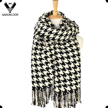 100%Acrylic Two Tone Checked Fashion Houndstooth Scarf with Fringes