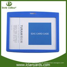 Kundenspezifisches hartes Plastikblau ABS-Material horizontal Ausweis-Kartenhalter