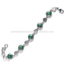 Lovely Tibetan Turquoise Gemstone 925 Sterling Silver Bracelet Jewelry