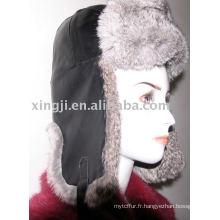 Chapeau de lapin Chinchilla avec chapeau de fourrure de couleur gris naturel en cuir d'agneau
