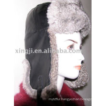 Chinchilla rabbit hat with lamb leather natural grey color fur hat