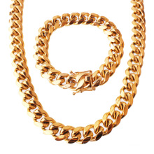 Custom Fashion 8/10/12/14mm Hip Hop Stainless Steel Jewelry Miami Pendant Cuban Chain Faucet Buckle Necklace And Bracelet