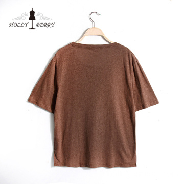 Camiseta Mujer New Stylish Brown Soft Sin forro