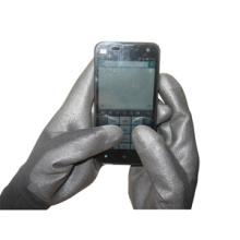13G Schwarz Polyester Liner PU beschichtet Touchscreen Arbeitshandschuh