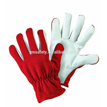 Durable All Seasons Industrial Leather Hand Gloves with Red Spandex Back