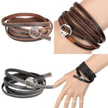 Encantos de moda pulsera de cuero de joyería para regalo (hj6101)
