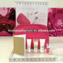 Productos de lujo de la marca de fábrica al por menor que hacen publicidad de acrílico claro Countertop Cosmetic Bag Perfume Display Risers