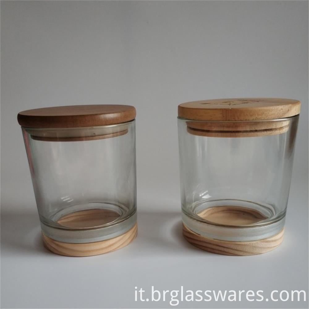 wooden top and wooden bottom glass candle jar1