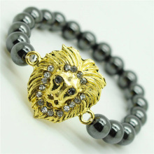 Hematite 8MM Round Beads Stretch Gemstone Bracelet with Diamante alloy Lion Head Piece