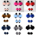 Qztx04 Wholesale Mommy And Me Fur Slides Faux Raccoon Fur Slippers