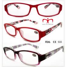 Señoras lentes de lectura de plástico con pintura de colores (wrp508334)
