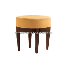 Solid wood round upholstered stool/ottoman XY3351