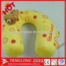 Stuffed cute and lovely bear shaped yellow neck p[illow plush neck pillow