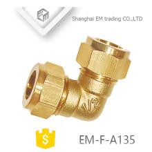 EM-F-A135 Hexágono cabeça latão conector rápido encaixe de tubulação de cotovelo de 90 graus