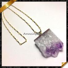 Nature Amethyst Druzy Pendant Necklace, Hot Sale Handmade Gems Necklace (FN071)