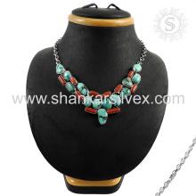 Magnifiques bijoux en argent sterling Collier turquoise en corail en gros Bijoux en argent