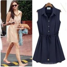 Летняя мода рукавов Плиссированные платья (FS5827)