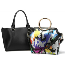 PU Leather Woman Handbag Accented Metal Chain on Both Sides Top Handle with Removable Strap, Bag in a Bag (ZX10077)