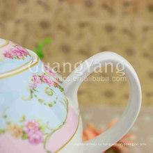 Красивый Фасад Фарфор Эмалированные Одна Чашка Чайник