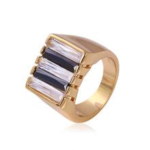 Xuping Neutro Anel de zircão de metal banhado a ouro