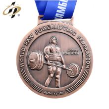 Großhandels preiswerte Antiken 3D gewichtheben Sport Medaillen