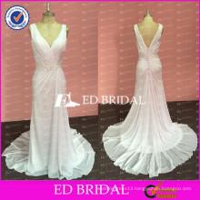 ED Bridal Sexy Custom Made White Chiffon V Neck Sleeveless Open Back Long Prom Dress With Beaded Sash