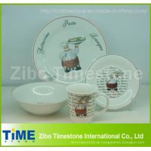 Porzellan 16 PC-Dinner-Set mit Aufkleber gedruckt (CD001)
