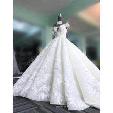 Vestido de festa de casamento dres super puffy 3D flores profundas v-neck vestidos de noiva sem mangas 2017