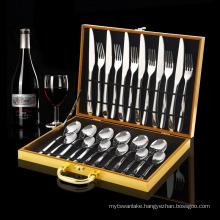 24pcs Silver Dinnerware Set Stainless Steel Tableware Set Knife Fork Spoon Luxury Cutlery Set Gift Box Flatware Dishwasher Safe