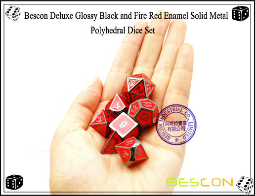 Bescon Deluxe Glossy Black and Fire Red Enamel Solid Metal Polyhedral Role Playing RPG Game Dice Set (7 Die in Pack)-7